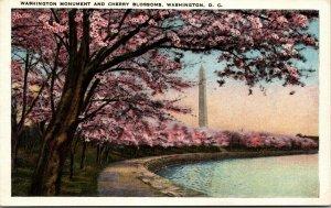 Vtg 1920s Washington Monument and Cherry Blossoms Washington DC Unused Postcard
