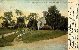 1909 Bennington Vermont Postcard: Old First Church (Catholic)