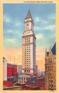 Custom House Tower, Boston, Massachusetts, Early Postcard, Unused