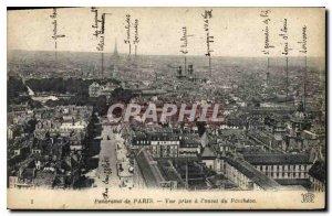Old Postcard Panorama View of Paris has taken western Pantheon