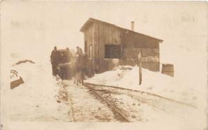 D94/ Occupational Real Photo RPPC Postcard c1910 Railroad Crew Winter Storm 3