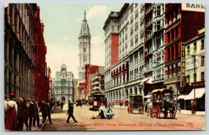 Philadelphia PA~Market St @ 11th~Bank~Joseph Way Cigar Store~Shoe~Trolley~1909