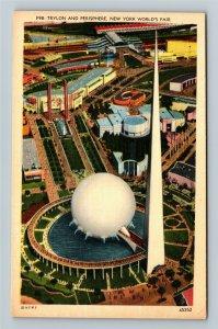 1939 New York World's Fair - Aerial View of Trylon and Perisphere Postcard