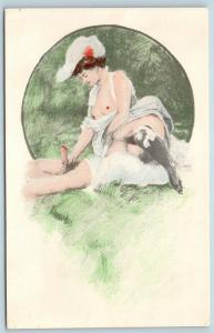 Postcard French Risque Man Woman Nude Action Cartoon Comic Together in Park Q16