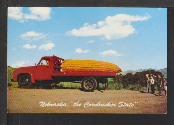 Exagrerated Corn in Truck Postcard