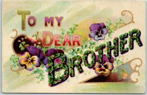 Large Letter Greetings Postcard To My Dear BROTHER Holly Leaves Purple Flowers