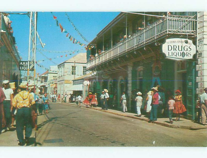 Unused Pre-1980 OLD CARS & SHOPS ON STREET St. Thomas VI n0582