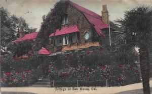 Cottage at San Mateo, California, Early Hand Colored Postcard, Used in 1908