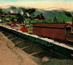 Vtg Postcard Butte Montana MT Train Load of Copper Ore Unused UNP
