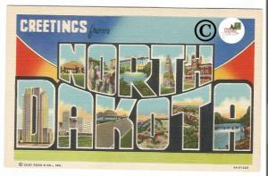 Vintage Big Letter Postcard Greetings From North Dakota Large Letter