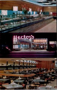 Hectors Cafeteria Self Service Restaurant NY Theater District vtg Postcard
