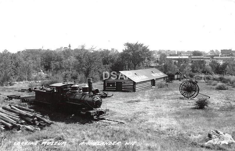 C50/ Rhinelander Wisconsin Wi RPPC Real Photo Postcard c1950s Logging Museum
