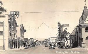 Redding CA Cascade Movie Marquee Theatre Al Jolson Storefronts Old Cars RPPC