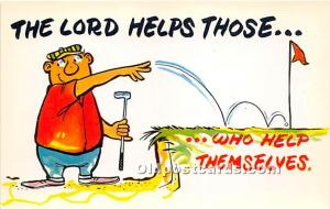 Old Vintage Golf Postcard Post Card The Lord Helps Those Unused