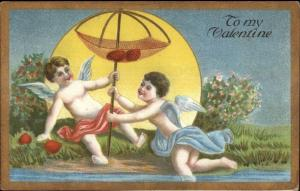 Valentine - Cupids Fishing For Hearts c1910 Postcard