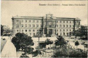 CPA Taranto Corso umberto I. Palazzo Uffiei e Villa Garibaldi ITALY (802775)
