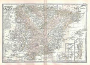 VINTAGE MAP Spain & Portugal c1897 from Century Atlas