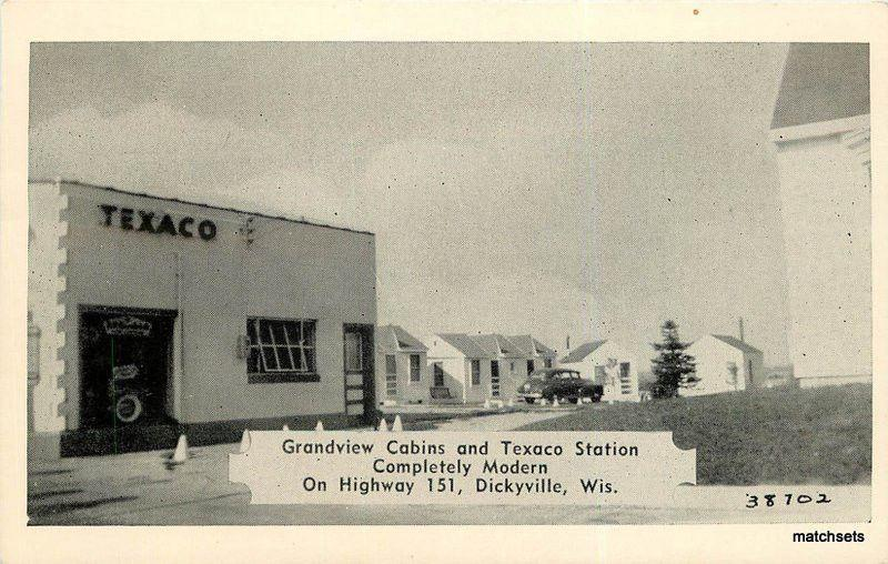 1940's DICKYVILLE WI Grandview Cabins Texaco Station Wilens 3881 Clearview