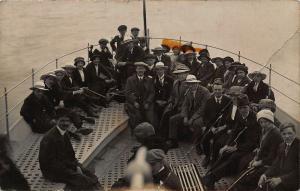 British social history People in Boat Sea Postcard