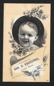 VICTORIAN TRADE CARD Mrs Thurston's Worm Syrup Baby