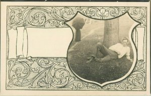 Postcard RPPC Relaxing Under A Tree