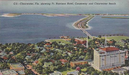 Florida Clearwater Showing Fort Harrison Hotel Causeway And Clearwater Beach ...