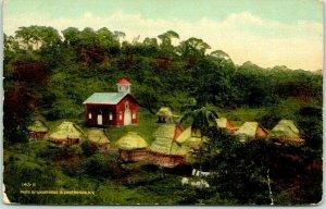 Vintage COLON, Panama Postcard A Native Settlement FORT CHAGRES / 1914 Cancel