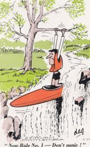 Scottish Fred Flinstones Lookalike Canoe Boating Disaster Comic Humour Postcard