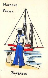 Barbados West Indies Post card Old Vintage Antique Postcard Harbour Police Na...