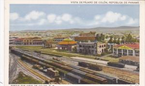 Panama BIrds Eye View Of Colon With Railway Cars