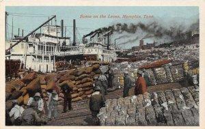 LP37  Riverboat Memphis Tennessee Postcard Levee Scene Black American history