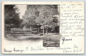 New Canaan Connecticut~North Main Street~Residential Area~1905 B&W Postcard