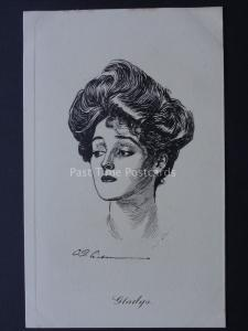 Pictorial Comedy GLADYS Lady Drawing by Artist W. Gibson c1910 James Henderson