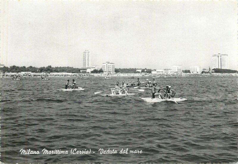 Postcard Italy Milano Maritima Cervia veduta dal mare rowboat