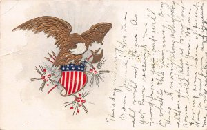 Gold Bald Eagle and Red White and Blue Shield, 1908 Embossed Postcard, Used