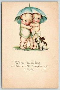 Ruth Welch Siver~Kids & Puppy Under Umbrella~Nothing Can Dampen When in Love