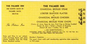 Vintage 1968 Palmer Inn 'Dine-Out' Coupon, Palmer, Mass/MA