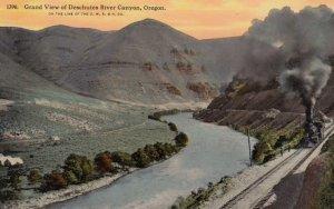 Grand View of Deschutes River Canyon, OREGON, 1900-10s; Train on Tracks