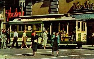 California San Francisco Cable Car On Turntable At Powell and Market Streets ...