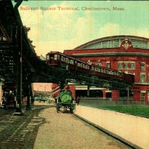 c1900s Charlestown MA Sullivan Square Terminal Photo Postcard Trolley Bridge A6