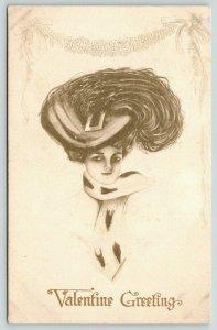 Artist Valentine~Lovely Lady in Ermine Fur Boa~Edwardian Feather Hat~Gibson Art