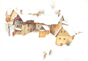 Guy Ameye Aquarelle, Bernard Grange Cartepostalerie Valloire Winter
