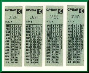 4 Canadian Pacific (CP) Railway/Railroad/RR Tickets, Pre VIA