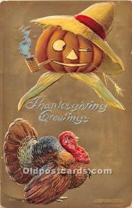 Thanksgiving Old Vintage Antique Postcard Post Card Artist Sanders 1908