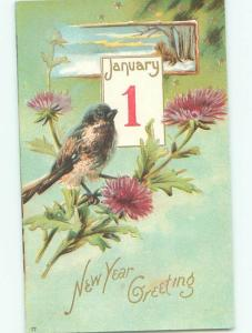 Pre-Linen New Year BIRD WITH CALENDAR AB2634