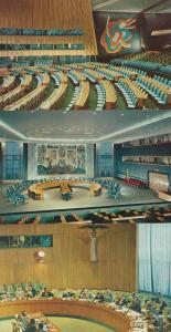 United Nations Security Council Chamber Assembly Hall 3x USA 1960s Postcard s