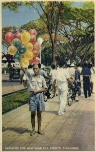 singapore, Arriving for New Year Sea Sports, Young Boy with Balloons (1940s)