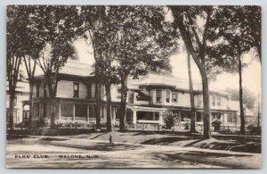 Malone New York~Elks' Club~BPOE Sprawling House~1920s B&W Albertype Postcard
