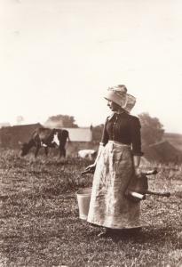 Victorian Dairy Milk Maid Low Hawsker Farm Whitby Yorkshire Postcard