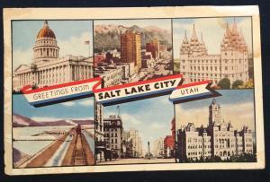 Postcard Used Greetings from Salt Lake City UT LB